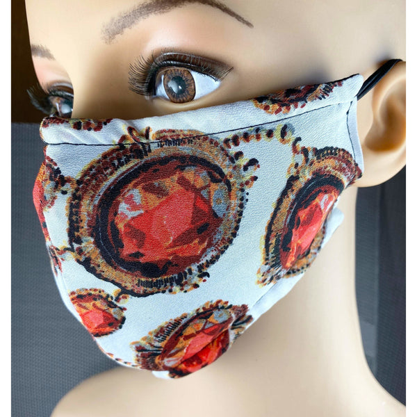 Handsewn Face Cover with Filter Pocket, Bendable Nose Wire, Adjustable Elastic, Pre-Washed - Tres Elegante Red Gems - 5 Sizes