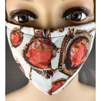 Handsewn Face Mask with Filter Pocket, Bendable Nose Wire, Adjustable Elastic, Pre-Washed - Tres Elegante Red Gems - 5 Sizes
