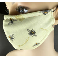 Handsewn Face Mask with Filter Pocket, Bendable Nose Wire, and Adjustable Elastic - Bumblebees - 5 Sizes