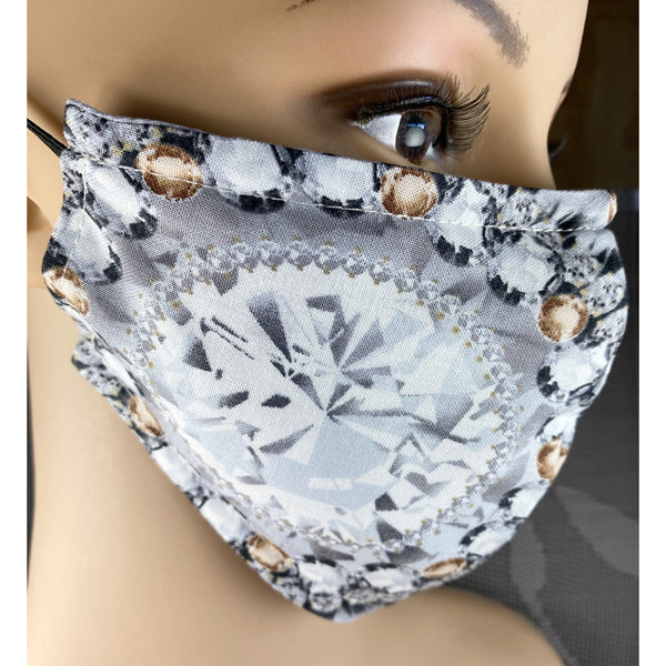 Handsewn Face Cover with Filter Pocket, Bendable Nose Wire, and Adjustable Elastic - Topaz - 5 Sizes