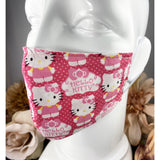 Handsewn Face Mask with Filter Pocket, Bendable Nose Wire, & Adjustable Elastic - Hello Kitty - 5 Sizes