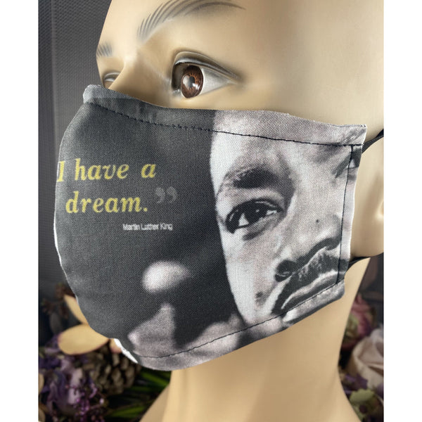 Handsewn Face Cover with Filter Pocket, Bendable Nose Wire, & Adjustable Elastic - Inspiration - Martin Luther King - Design II - 5 Sizes