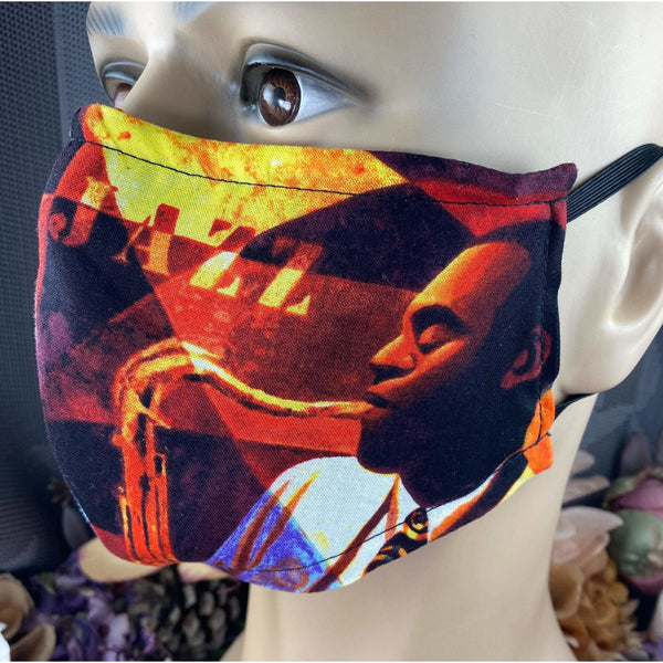 Handsewn Face Cover with Filter Pocket, Bendable Nose Wire, & Adjustable Elastic - Apollo Theater Jazz Club - Scene B - 5 Sizes