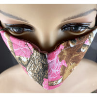 Handsewn Face Mask with Filter Pocket, Bendable Nose Wire, & Adjustable Elastic -  Pink Camo - 5 Sizes