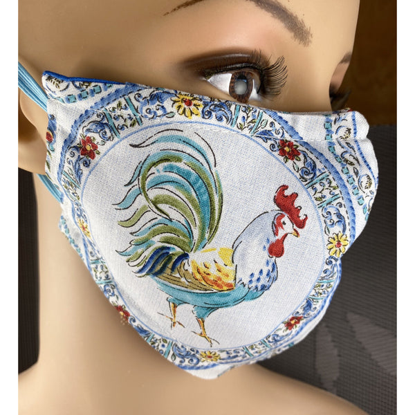 Handsewn Face Cover with Filter Pocket, Bendable Nose Wire, & Adjustable Elastic - Rooster - 5 Sizes