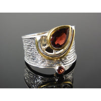 Garnet sterling silver Two-Tone Ring - Size 8.75