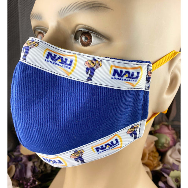 Handsewn Face Mask with Filter Pocket, Bendable Nose Wire, Adjustable Elastic, & Pre-Washed - Northern Arizona University - 5 Sizes