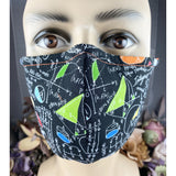 Handsewn Face Mask with Filter Pocket, Bendable Nose Wire, Adjustable Elastic, & Pre-Washed - Math Genius - 5 Sizes