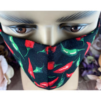 Handsewn Face Cover with Filter Pocket, Bendable Nose Wire, Adjustable Elastic, & Pre-Washed - Red Hot Chili Peppers - 5 Sizes