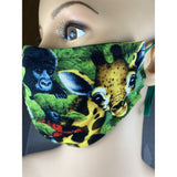 Handsewn Face Mask with Filter Pocket, Bendable Nose Wire, Adjustable Elastic, & Pre-Washed - Jungle Animals - 5 Sizes