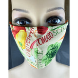Handsewn Face Mask with Filter Pocket, Bendable Nose Wire, Adjustable Elastic, & Pre-Washed - Fresh Veggies - 5 Sizes