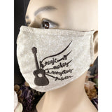 Handsewn and Machine-Embroidered Face Mask with Filter Pocket, Bendable Nose Wire, and Adjustable - Rodeo Cowboy & Music - 5 Sizes