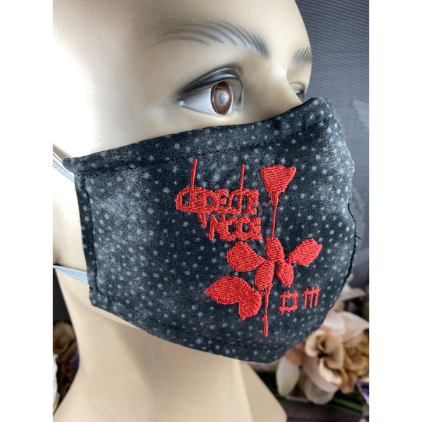 Handsewn and Machine-Embroidered Face Mask with Filter Pocket, Bendable Nose Wire, & Adjustable - Depeche Mode Inspired - 5 Sizes