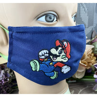 Handsewn and Machine-Embroidered Face Mask with Filter Pocket, Bendable Nose Wire, & Adjustable - Mario and Sonic - 5 Sizes