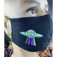 Handsewn and Machine-Embroidered Face Cover with Filter Pocket, Bendable Nose Wire, Adjustable Elastic - Spaceship and Alien - 5 Sizes