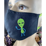Handsewn and Machine-Embroidered Face Mask with Filter Pocket, Bendable Nose Wire, Adjustable Elastic - Spaceship and Alien - 5 Sizes