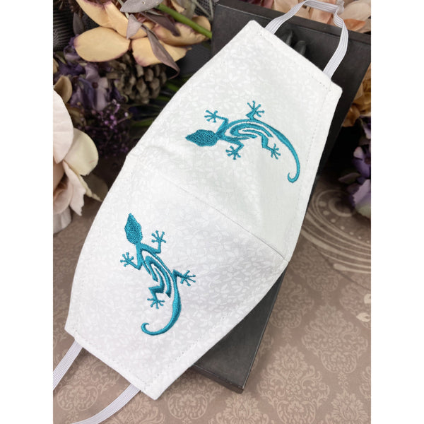 Handsewn and Machine-Embroidered Face Mask with Filter Pocket, Bendable Nose Wire, & Adjustable - Turquoise Gecko - 5 Sizes