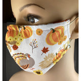 Handsewn Face Mask, Filter Pocket, Bendable Nose Wire, & Pre-Washed - Thanksgiving Turkey - 5 Sizes