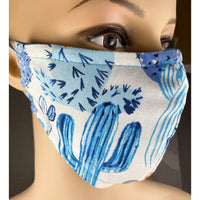 Handsewn Face Cover, Filter Pocket, Bendable Nose Wire, & Pre-Washed - Blue Cactus - 5 Sizes
