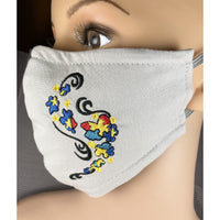 Handsewn and Machine-Embroidered Face Mask with Filter Pocket, Bendable Nose Wire, & Adjustable - Autism - 5 Sizes