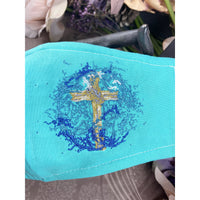 Handsewn and Machine-Embroidered Face Mask with Filter Pocket, Bendable Nose Wire, & Adjustable - Doves and Cross in Splash - 5 Sizes