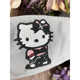 Handsewn and Machine-Embroidered Face Mask with Filter Pocket, Bendable Nose Wire, & Adjustable - Punk Rock Hello Kitty - 5 Sizes