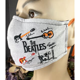 Handsewn and Machine-Embroidered Face Cover with Filter Pocket, Bendable Nose Wire, & Adjustable - Abbey Road - 5 Sizes
