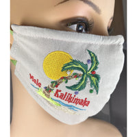 Handsewn and Machine-Embroidered Face Cover with Filter Pocket, Bendable Nose Wire, & Adjustable - Mele Kalikimaka  - 5 Sizes