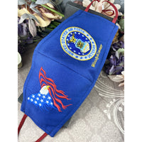 Handsewn and Machine-Embroidered Face Cover with Filter Pocket, Bendable Nose Wire, & Adjustable - USAF Veteran Personalized - 5 Sizes