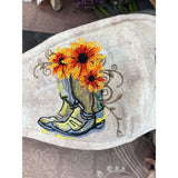 Handsewn and Machine-Embroidered Face Cover with Filter Pocket, Bendable Nose Wire, & Adjustable - Western Boots and Sunflowers - 5 Sizes