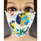 Handsewn Face Cover with Filter Pocket and Bendable Nose Wire - Hawaii and Spam - 5 Sizes
