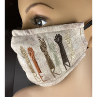 Handsewn and Machine-Embroidered Face Mask with Filter Pocket, Bendable Nose Wire, & Adjustable - Be Kind  - 5 Sizes