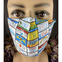 Handsewn Face Mask with Filter Pocket & Bendable Nose Wire - License Plates - 5 Sizes