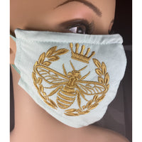 Handsewn and Machine-Embroidered Face Mask with Filter Pocket, Bendable Nose Wire, & Adjustable - Golden Queen Bee - 5 Sizes