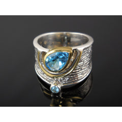 Blue Topaz Two-Tone (14kt Gold-Over-Sterling) Sterling Silver Ring – Sizes 7.5-9.5