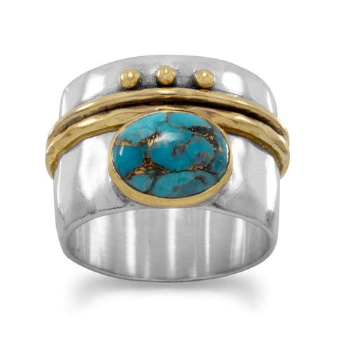 Turquoise Two-Tone 14kt Gold-Over-Sterling Silver Ring:  Sizes 6-10