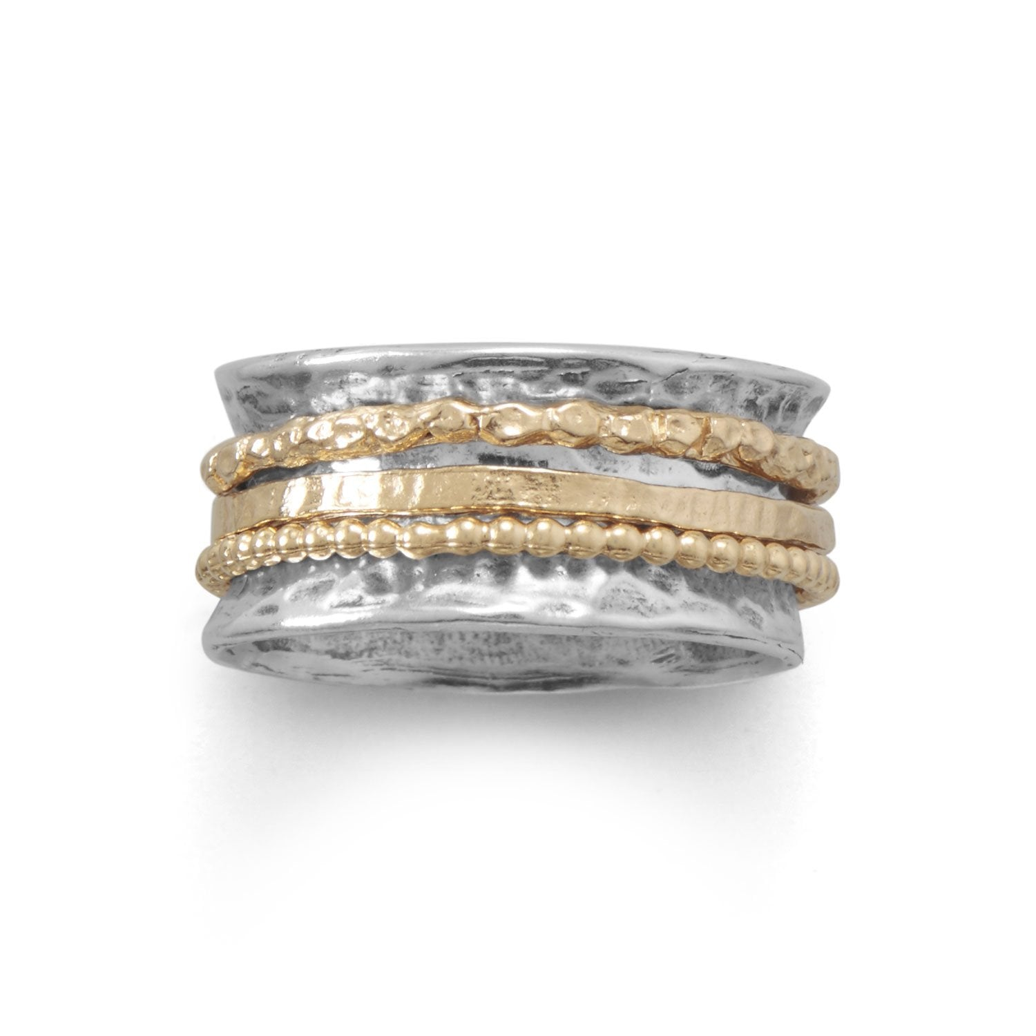 Two-Tone 14kt Gold-Over-Sterling Silver Multi-Band Spin Ring: Sizes 6-10