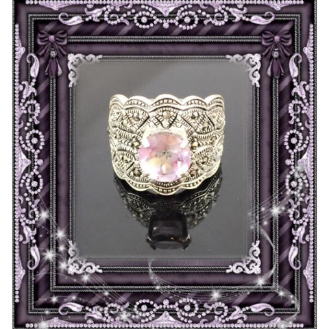 Amethyst & Marcasite Sterling Silver Ring - Size 6.0
