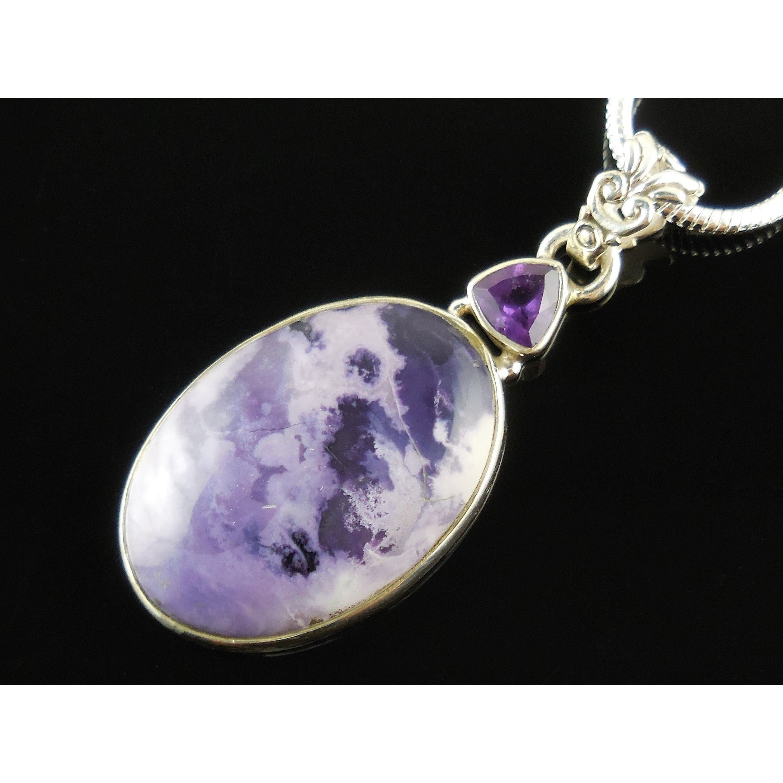 Tiffany Stone & Amethyst Sterling Silver Pendant/Necklace