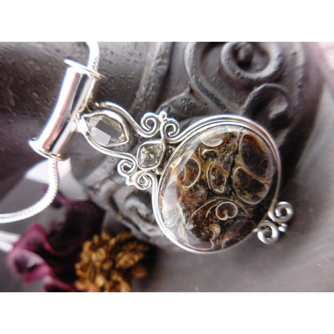 Turtella Jasper & Herkimer Diamond (Quartz) Sterling Silver Pendant/Necklace