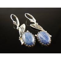 Kyanite Sterling Silver Leaf Earrings