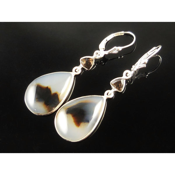 Montana Agate & Smoky Quartz Sterling Silver Earrings