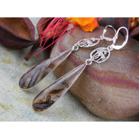 Tube Agate Sterling Silver Equestrian Earrings