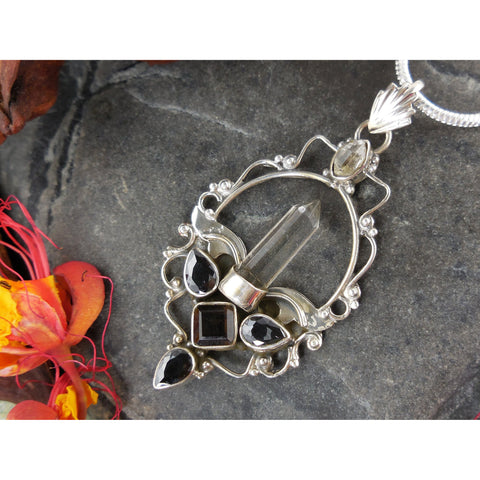 Smoky Topaz & Crystal & Herkimer Diamond (Quartz) Sterling Silver Pendant/Necklace