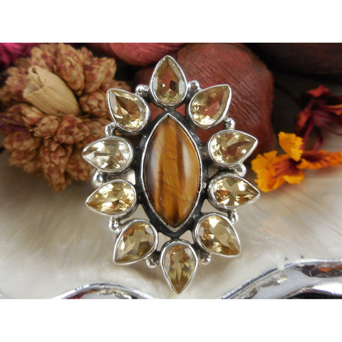 Tiger's Eye & Citrine Sterling Silver Ring - Size 8.75