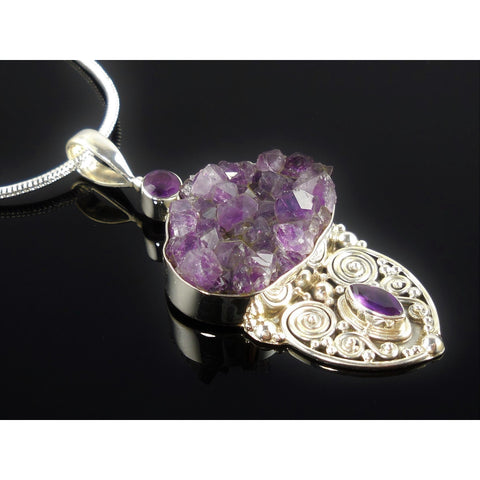 Amethyst (Rough & Faceted) Sterling Silver Pendant/Necklace