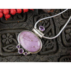 Purpurite & Amethyst Sterling Silver Pendant/Necklace