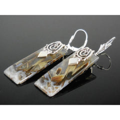 Tube Agate Sterling Silver Earrings