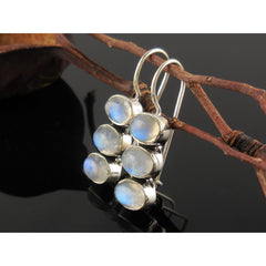3-Stone Moonstone Sterling Silver Earrings