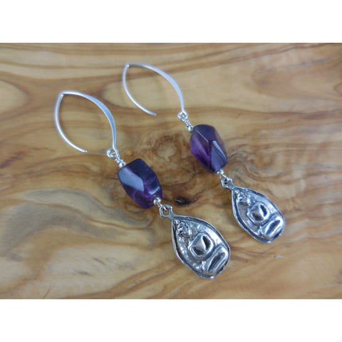 Sterling Silver Amethyst Gemstone Buddha Earrings